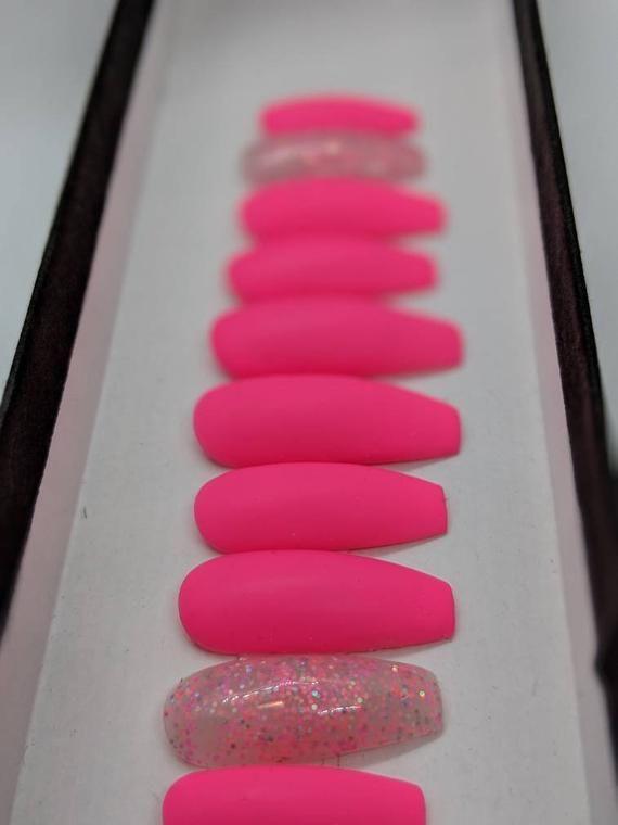 Matte Hot Pink Nails  Glitter accent Nail  Press on Nails  | Etsy