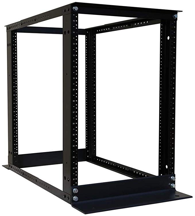"15U 4 Post Open Frame 19/'/' Server//Audio Steel Rack Deep from 16/""-32/"" 3 Shelves"