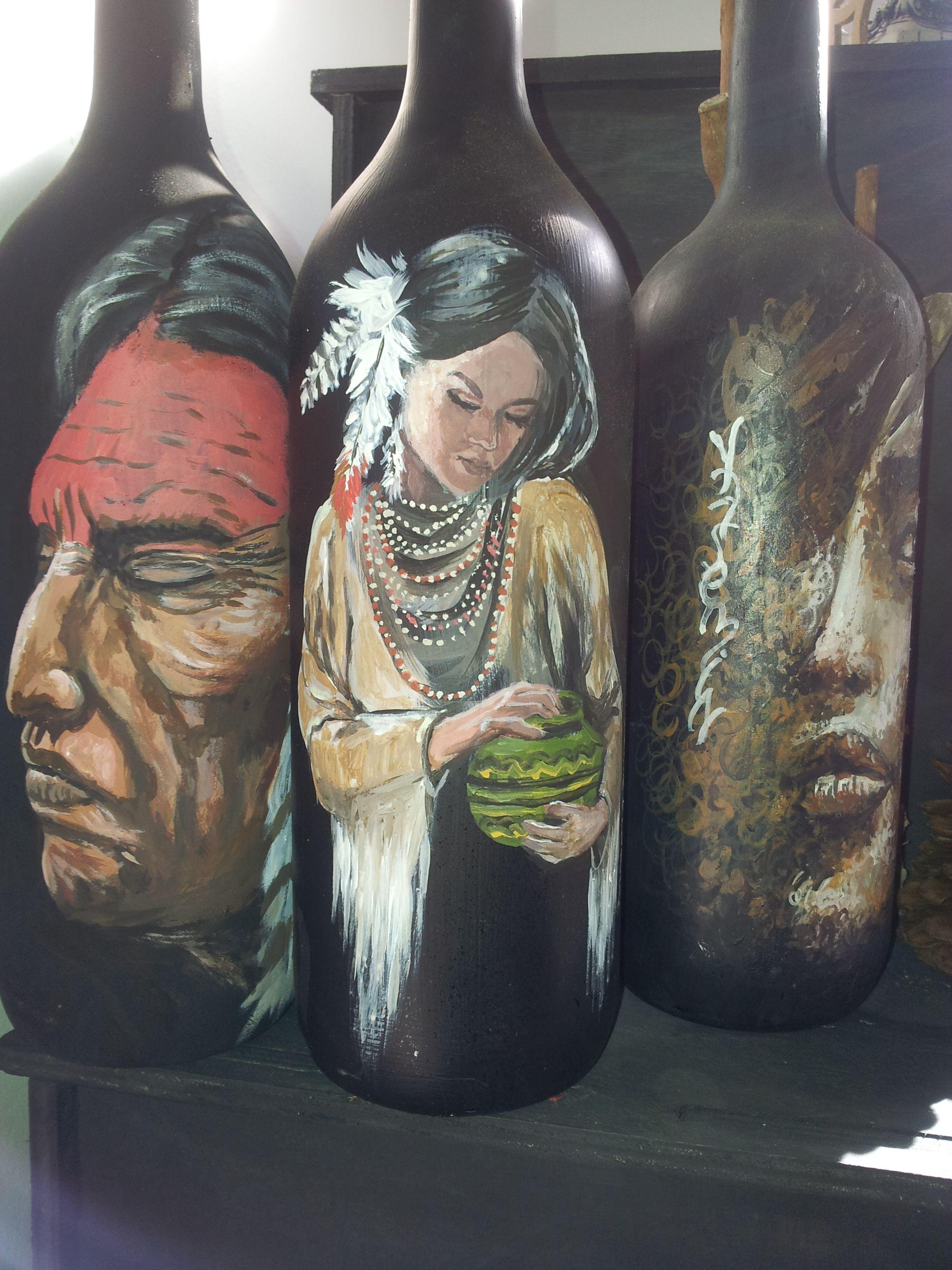 şişe Boyama Sanatı Tunçel Sanat Bottle Wine Ve Art