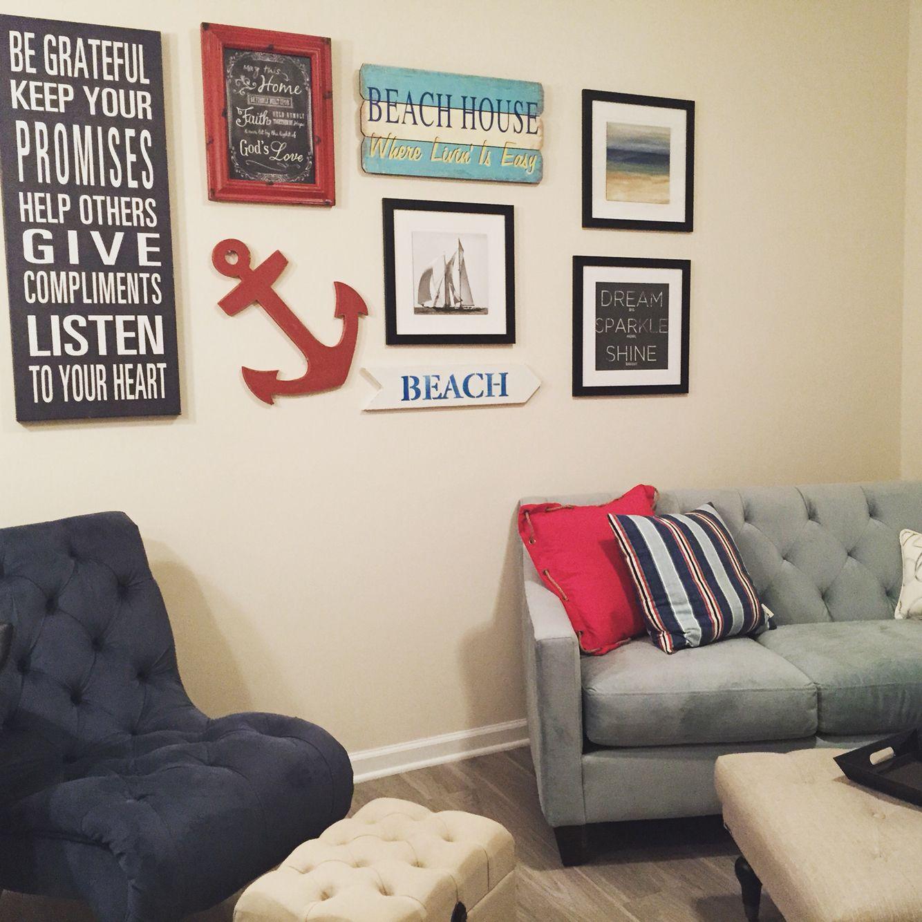 My nautical themed apartment Chair - T.J. Maxx Small ottoman ...