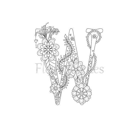 Malseite Zum Ausdrucken Buchstabe W Floral Von Fleurdoodles
