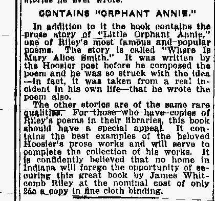 little orphant annie poem