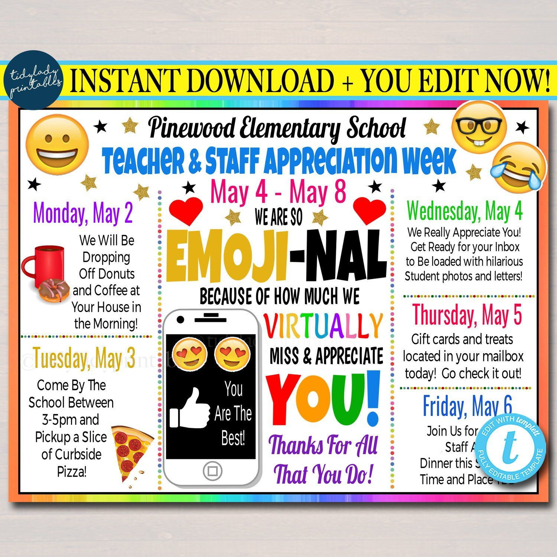 Virtual Teacher Appreciation Week Itinerary Schedule Daily Weekly Calendar Printable Diy Template Teacher Appreciation Week Teacher Appreciation Teacher