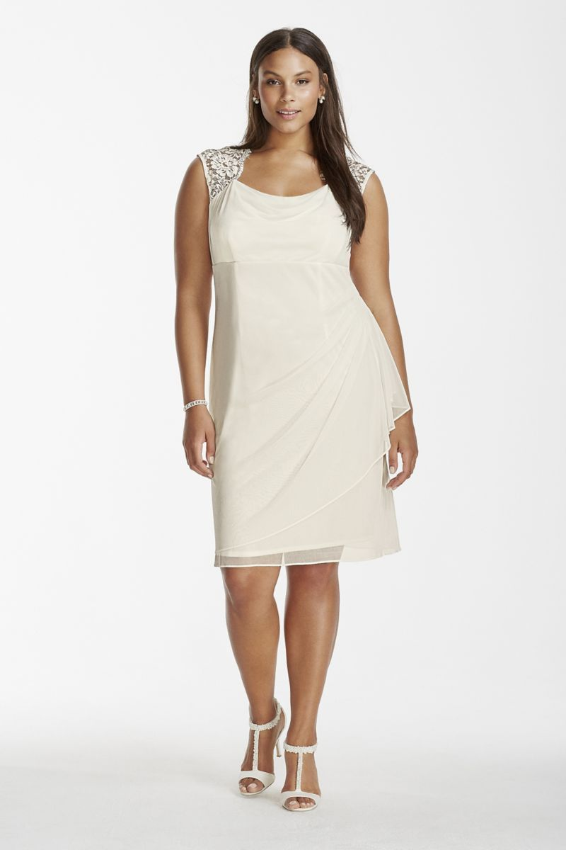 Rehearsal dinner dress mesh short dress with lace cap sleeves style