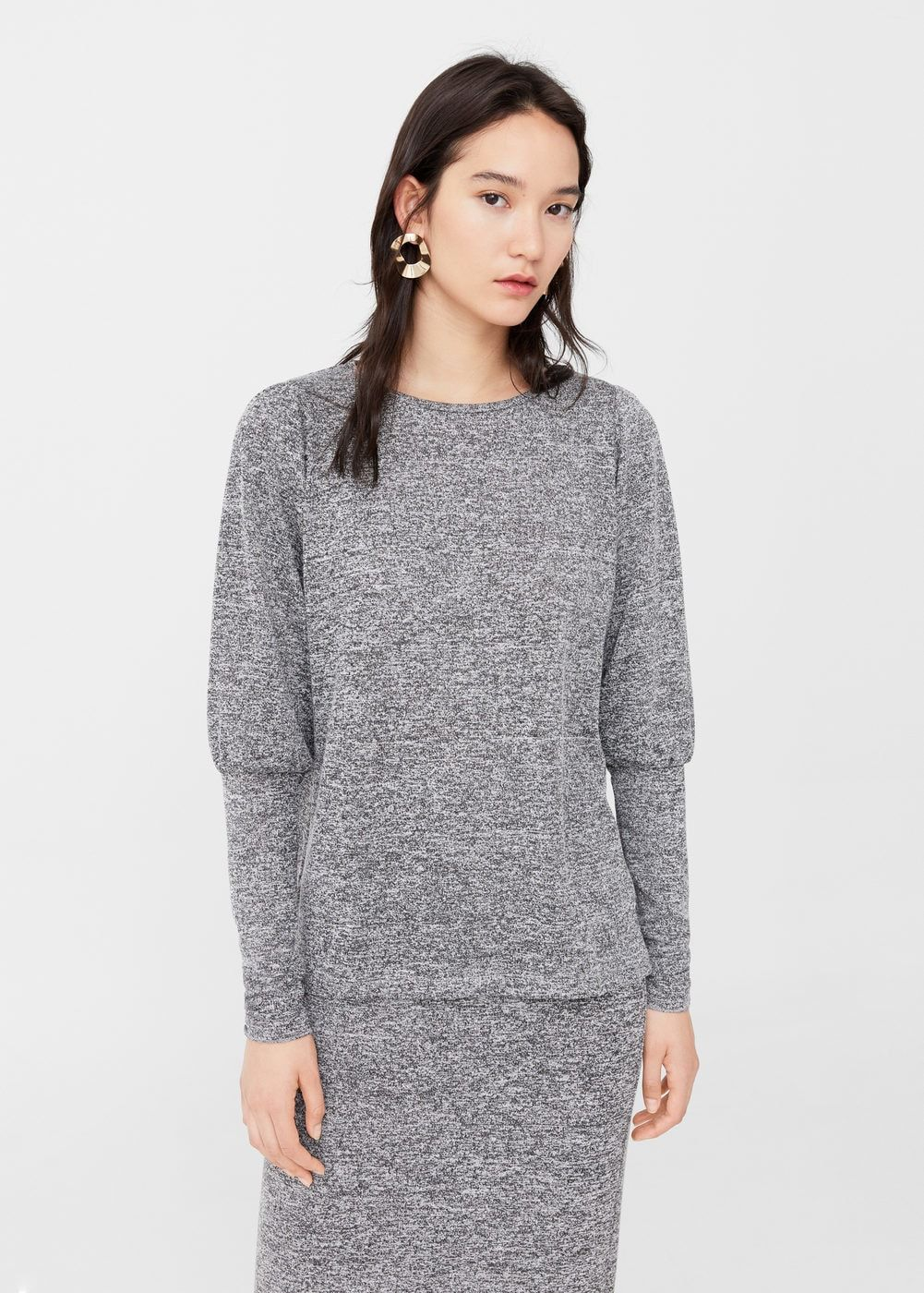 Puffed sleeves sweater woman woman