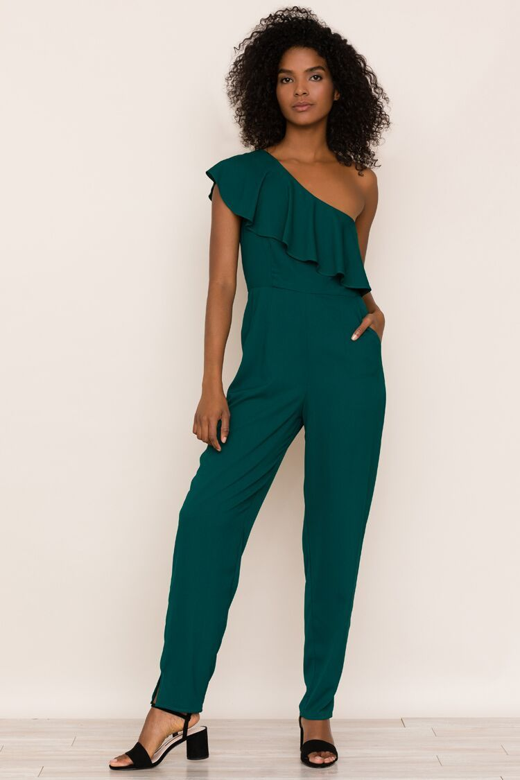 1fb752e01c1a5 Yumi Kim Cascade Jumpsuit Look fierce and feel sexy in our new Cascade  jumpsuit. Details include one-shouldered ruffled top