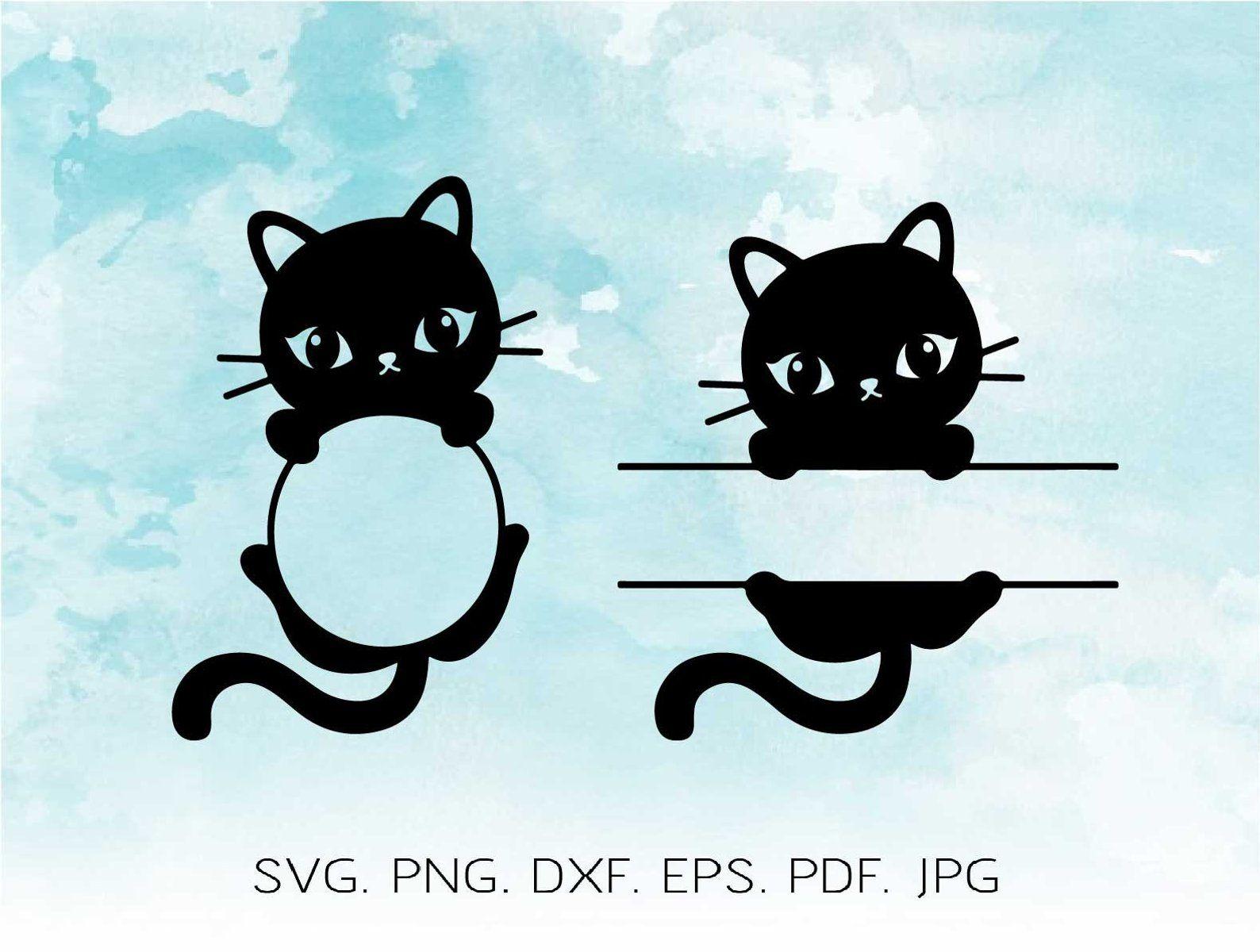 Cat Monogram SVG Cat Monogram Frame Files Cute Simple