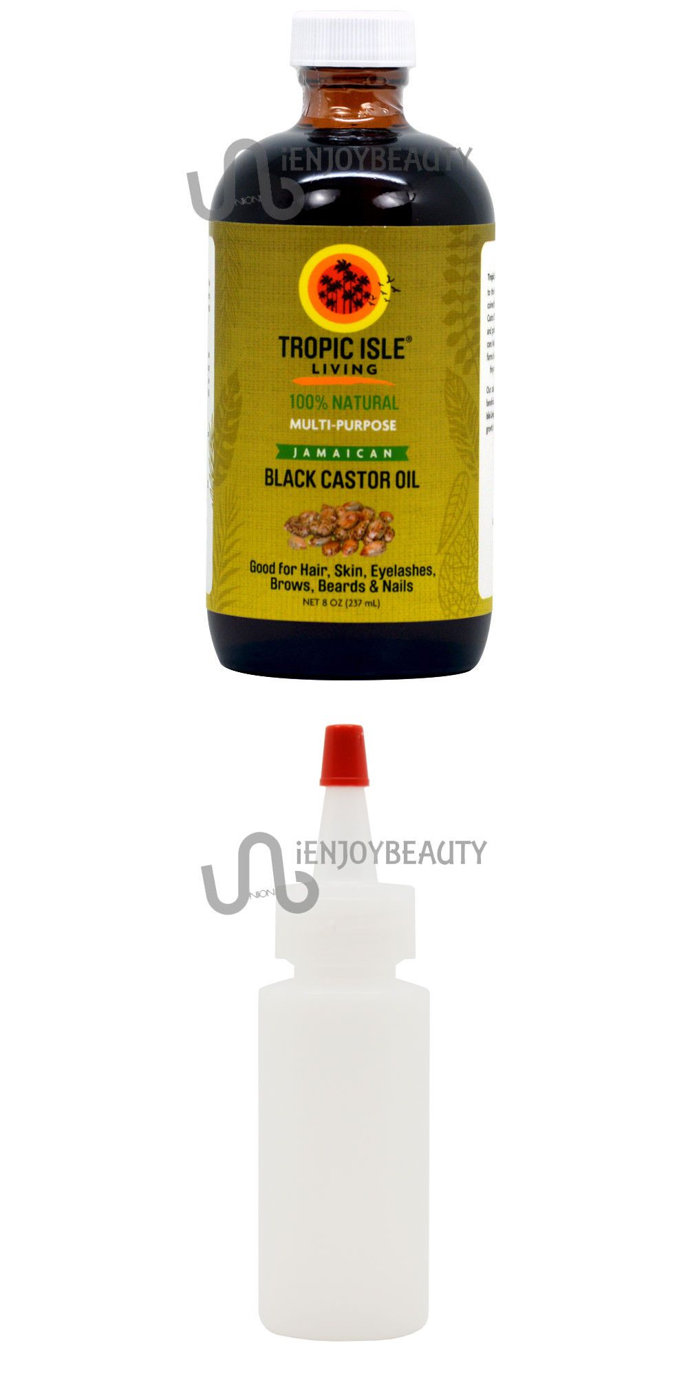 Tropic Isle Living Jamaican Black Castor Oil oz Glass Bottle Free