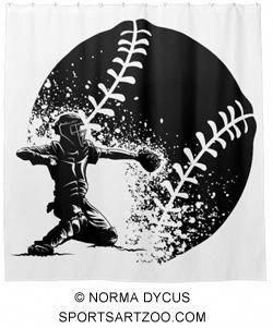Photo of Baseball Catcher at Home Plate With a Grunge Ball Shower Curtain