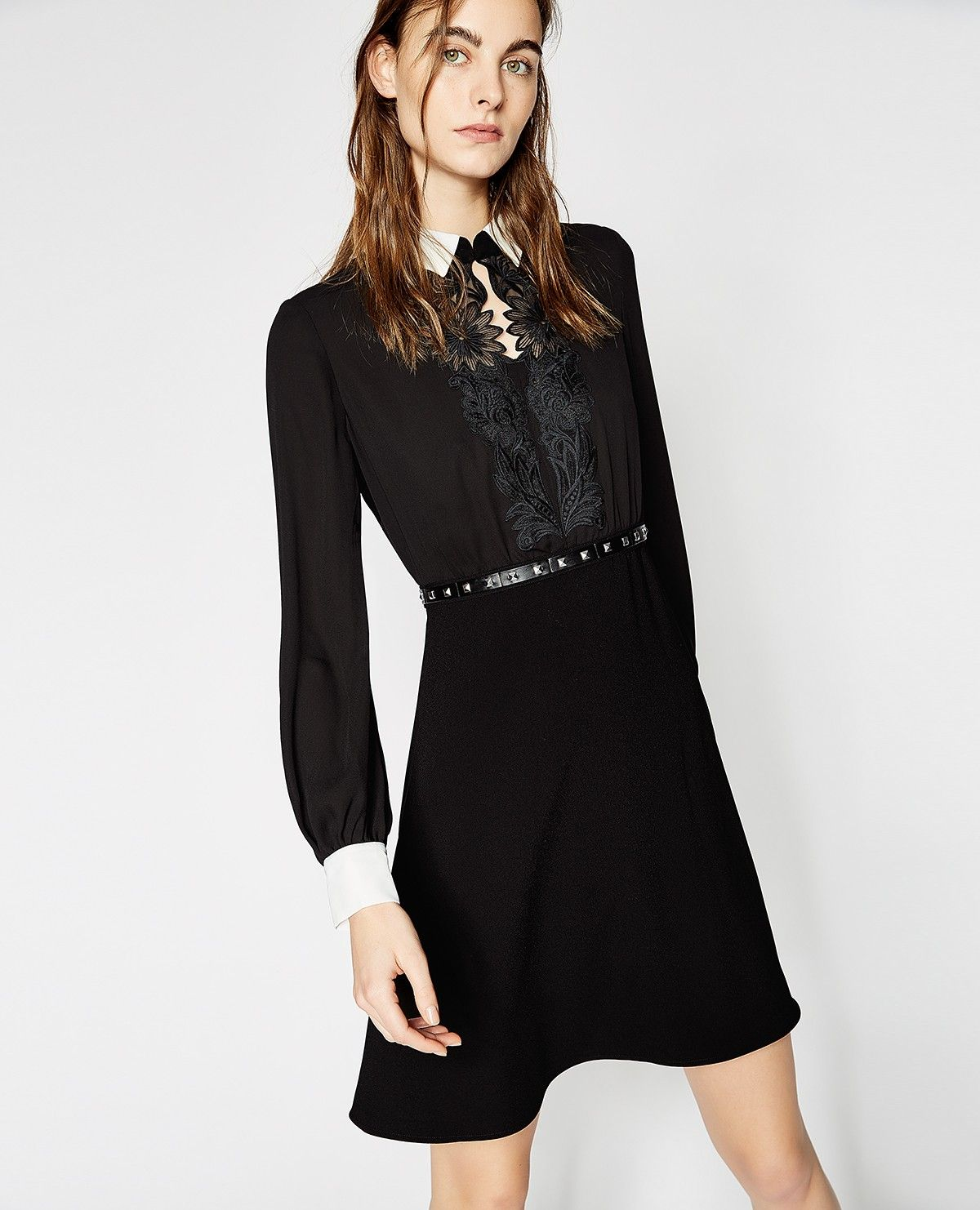 This Long Sleeve Shirt Dress Is Complete With Classic Collar And Contrasting White Cuffs It Features A Plas Women Clothes Sale Embroidered Shirt Dress Dresses [ 1482 x 1200 Pixel ]