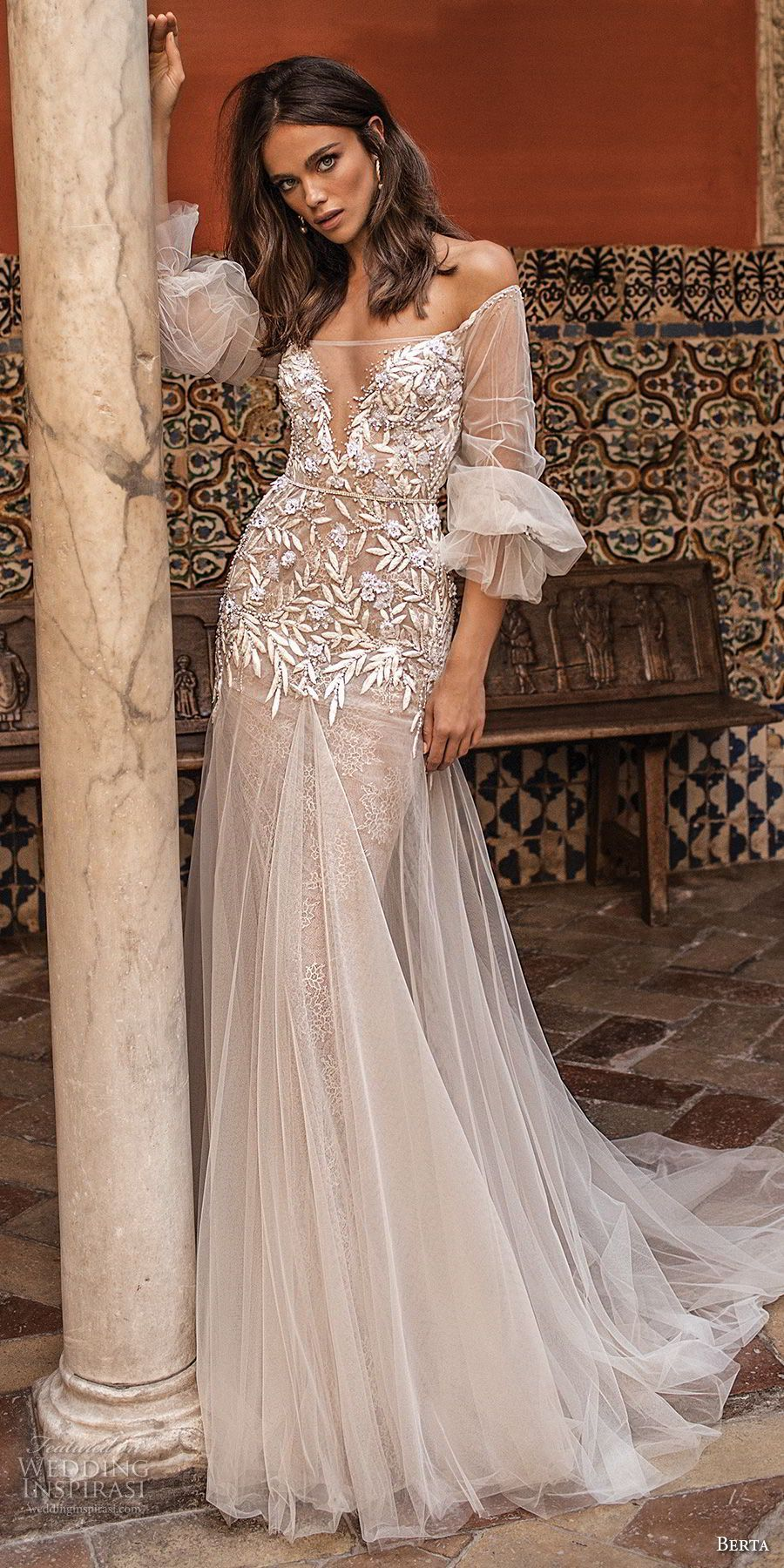 berta fall 2018 bridal off the shoulder illusion straight across v ...