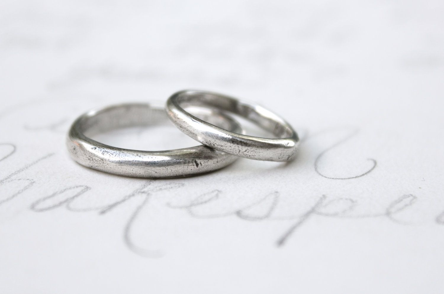 Simple Wedding Ring Band Set Recycled Silver Rustic Domed Viking Custom Relic Rings Via Etsy 269