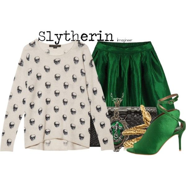 Slytherin (Harry Potter) by claucrasoda on Polyvore featuring Skull Cashmere, Max Studio, Yves Saint Laurent, Alkemie and Aurélie Bidermann