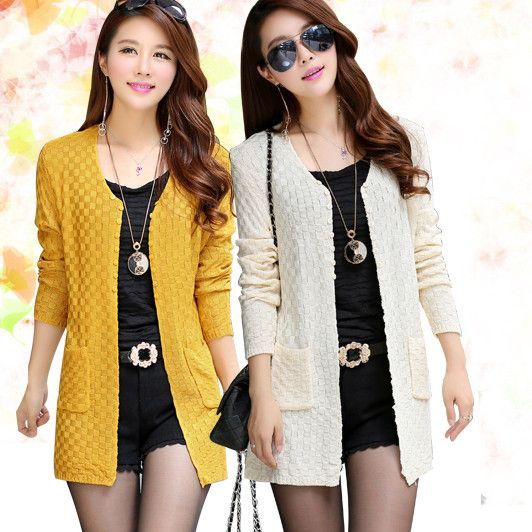 Women Sweater Long Cardigan 2015 Fashion Summer Style Long Sleeve ...