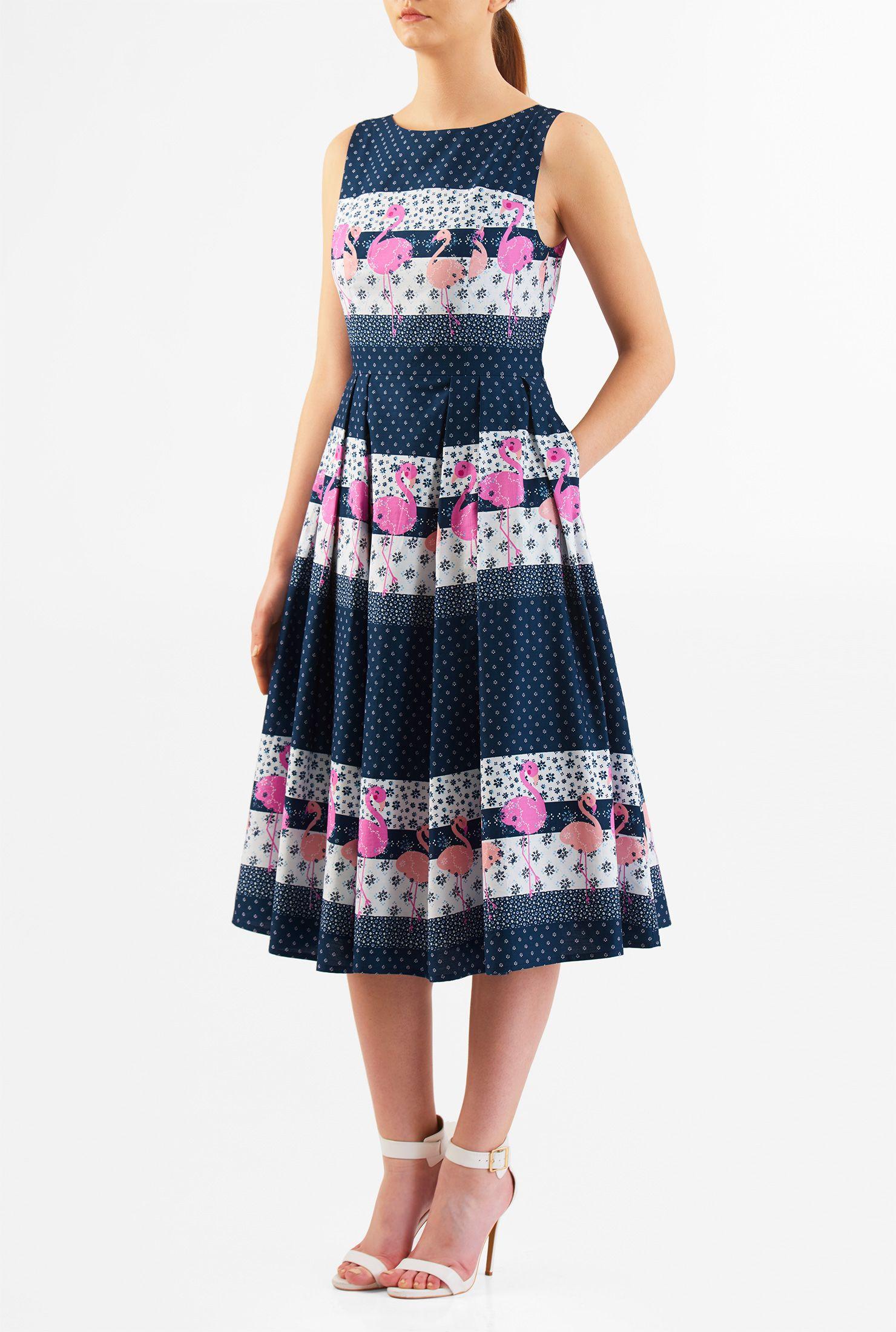 79c3f763c37808 eShakti - Flamingo Print Cotton Midi Dress