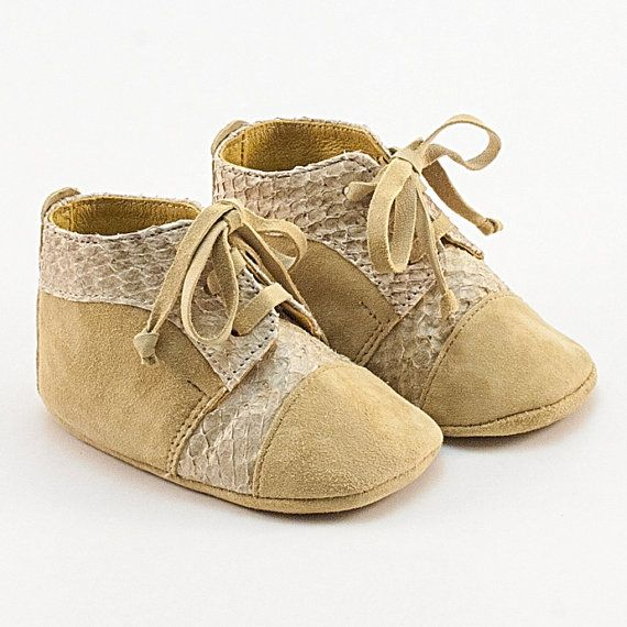 3f0f21705ffa8 Soft sole leather baby bootie shoes in beige. Beautifully crafted ...