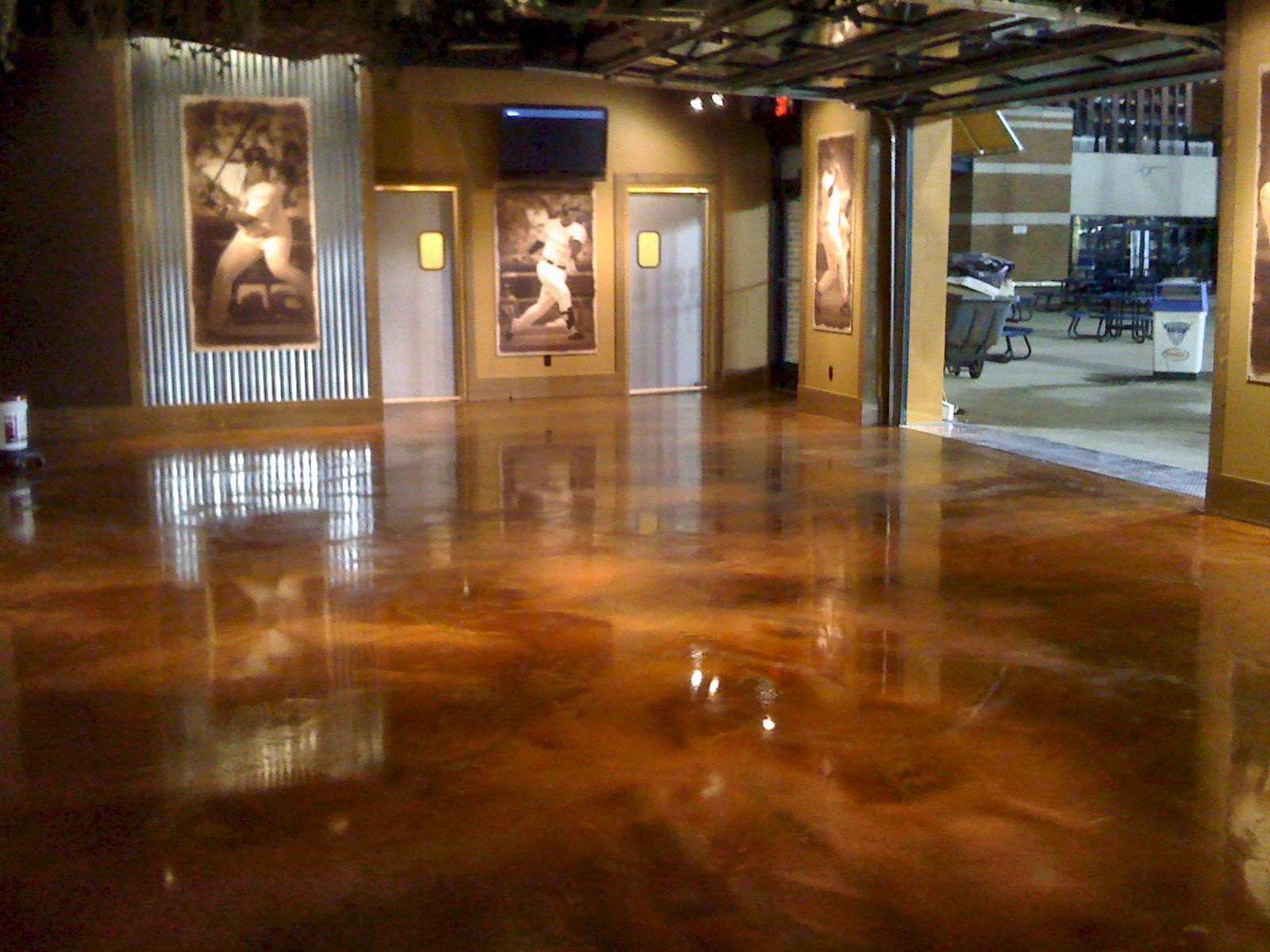 Copper epoxy floor floor finish for many commercial and for Commercial bar flooring