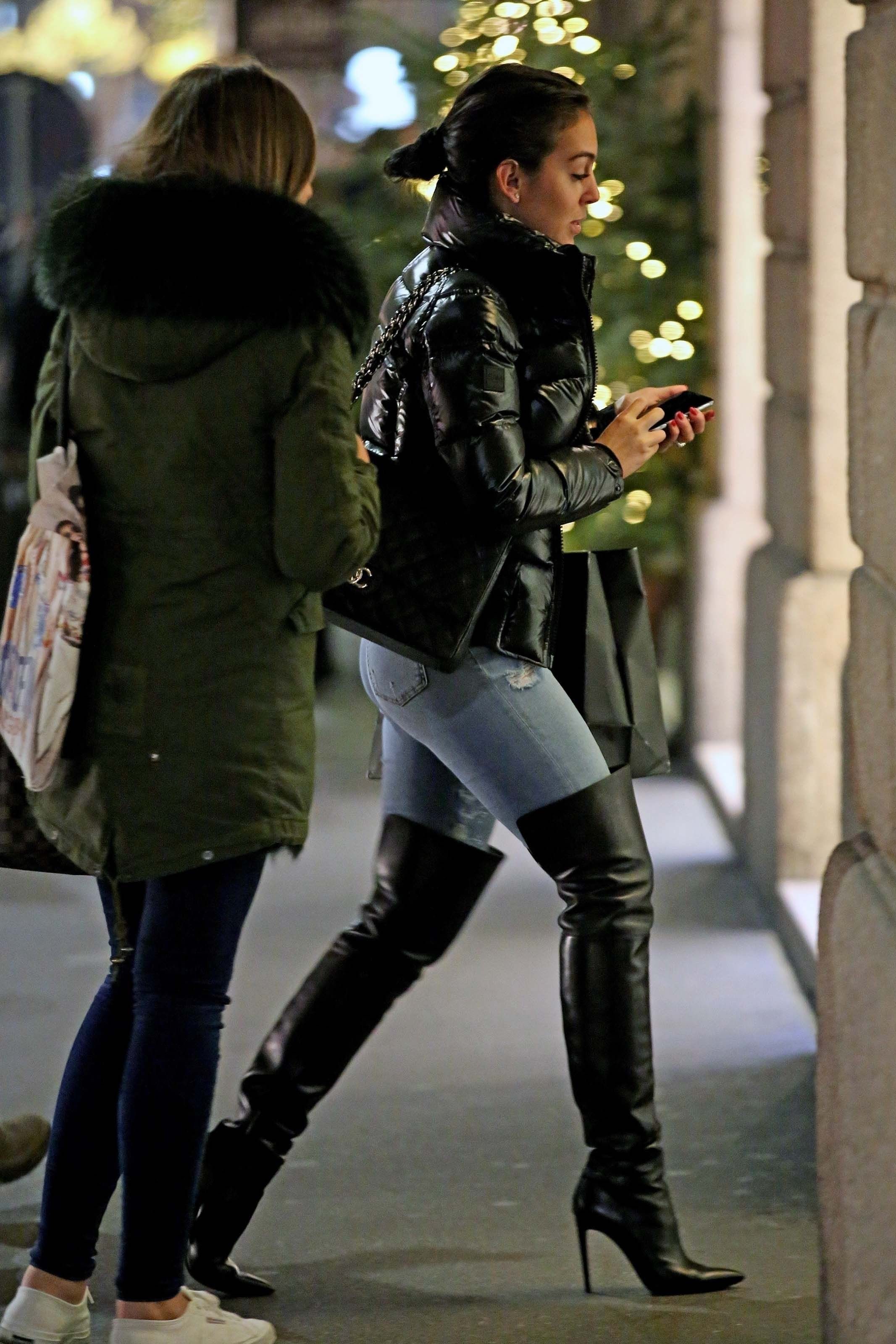a9ba0a2ea0 Georgina Rodriguez goes shopping at luxury retailers Jean Thigh High Boots
