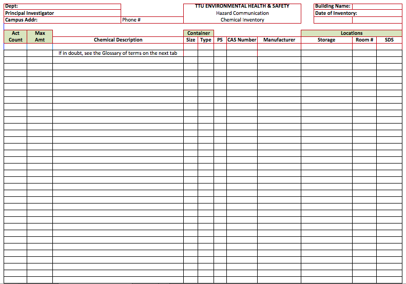 Chemical Inventory List Template  Inventory List Template
