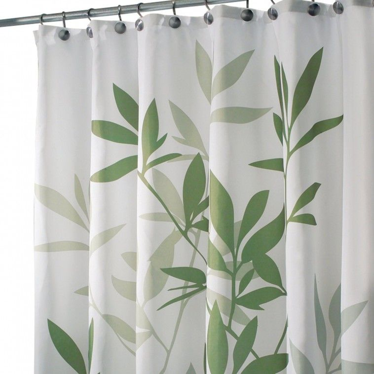 white and green leaves fabric shower curtain on stainless steel hook ...