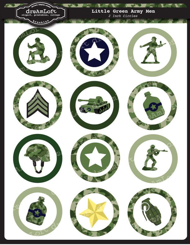 Little Green Army Men 2 Inch Round Circles for stickers coasters