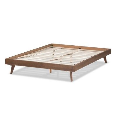 Jacob Mid Century Modern Walnut Finished Solid Wood Queen Bed