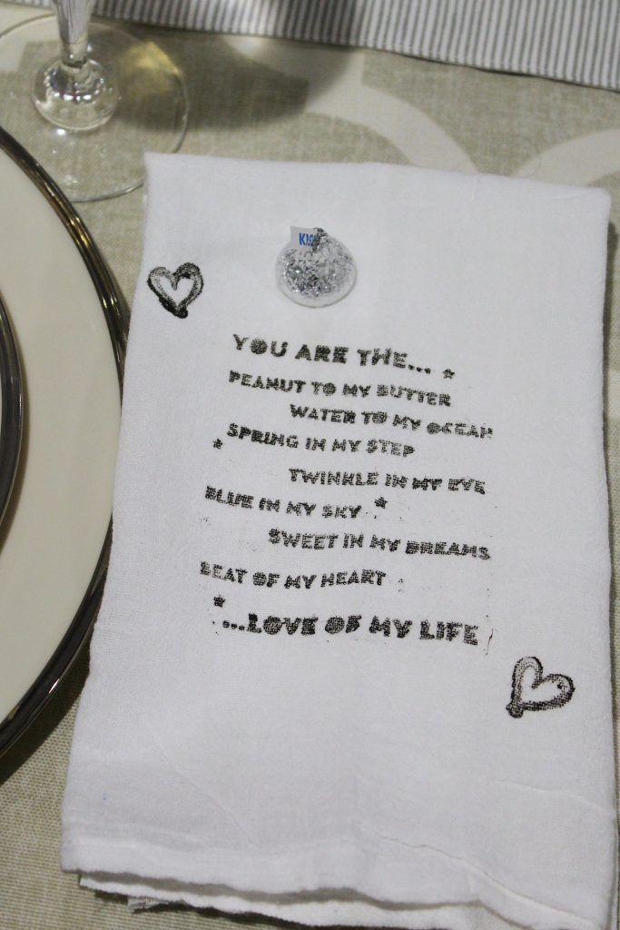 DIY Valentine's Day Stamped napkins from KnockitoffKim.com