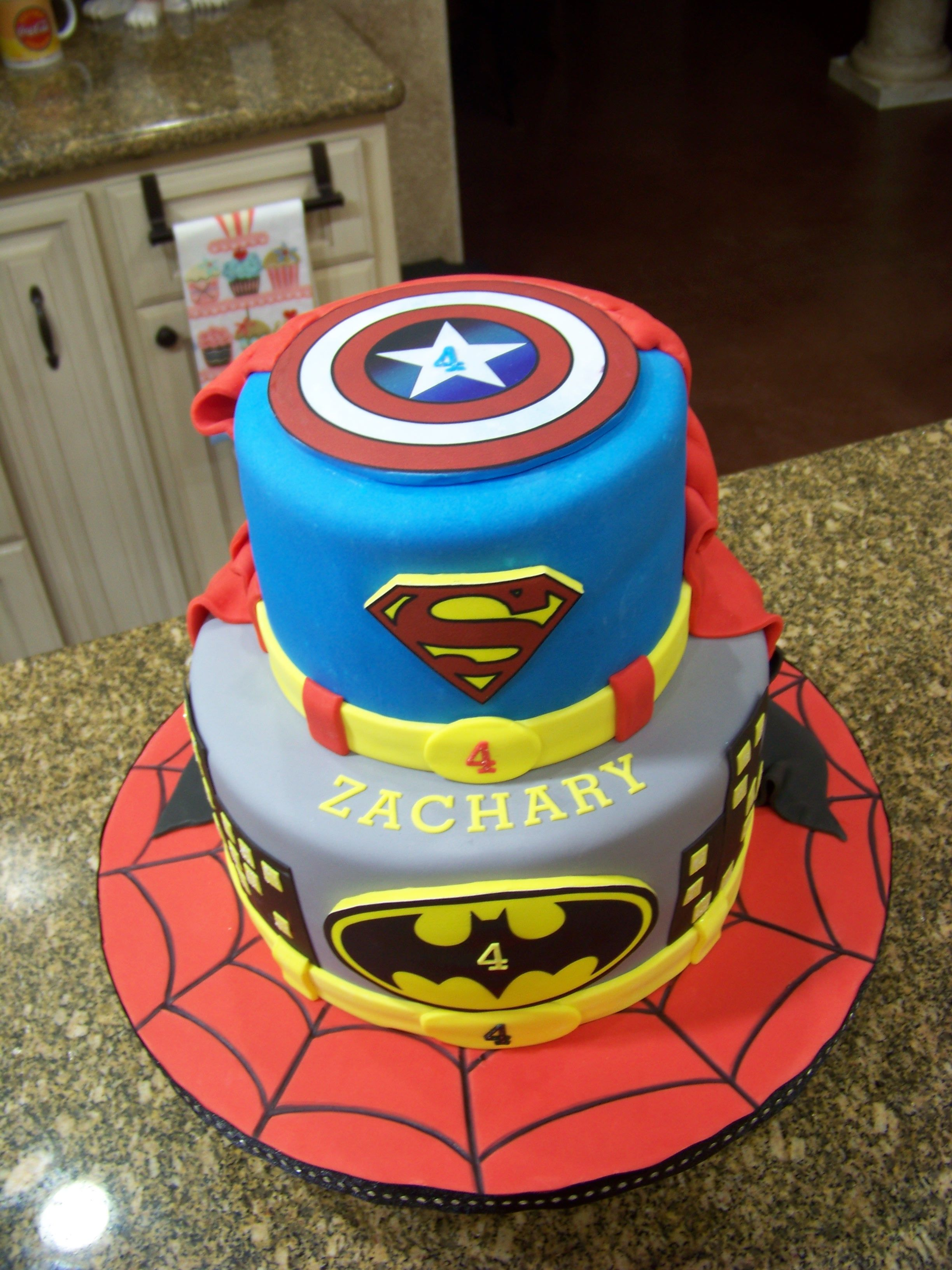 Outstanding Superhero Cake Spiderman Batman Superman Captain America Personalised Birthday Cards Veneteletsinfo