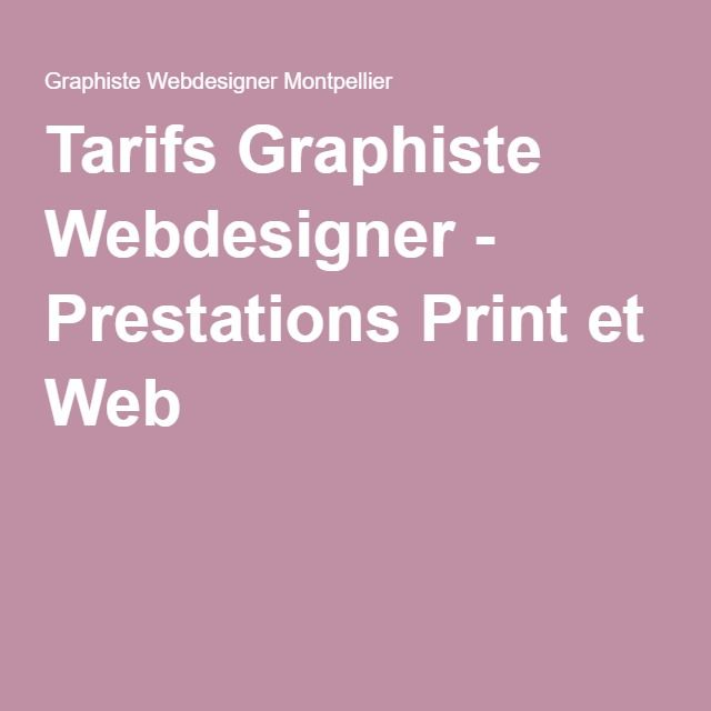 Tarifs Graphiste Webdesigner