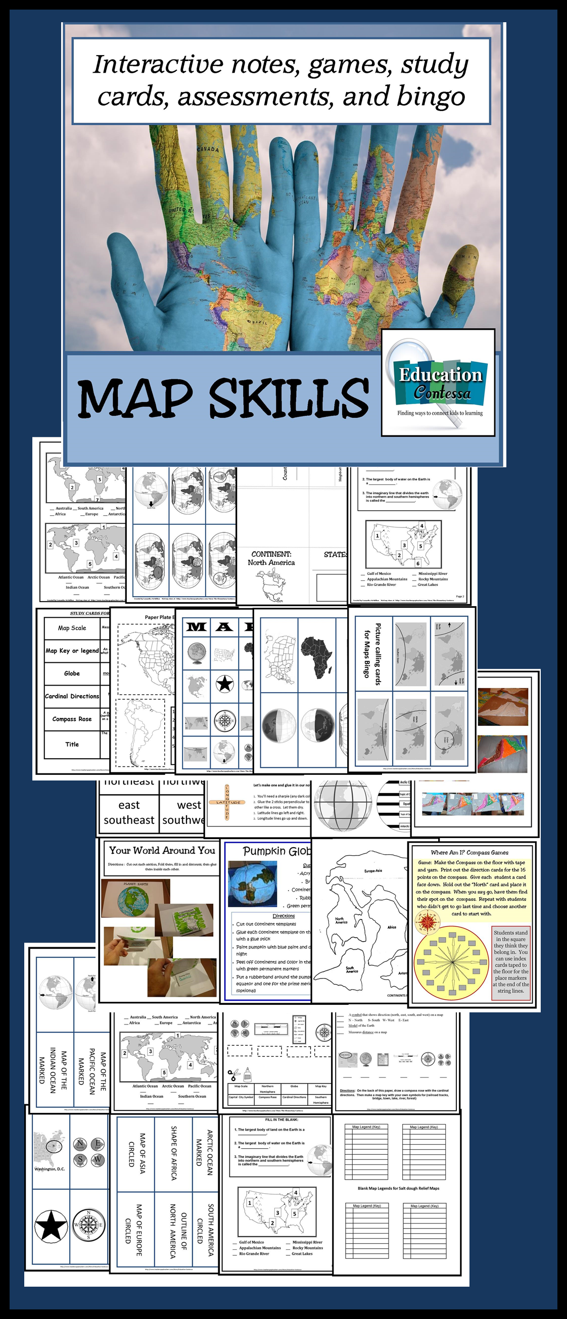 Map Skills Unit Make Geography Fun With Bingo