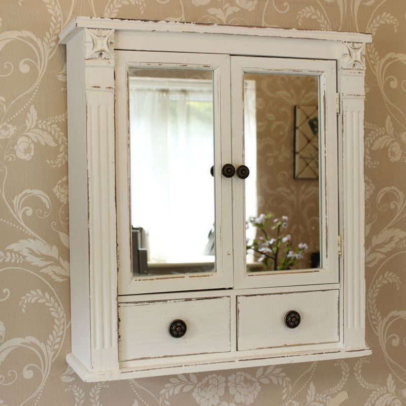 White wooden mirrored bathroom wall cabinet shabby vintage chic cupboard  storage - White Wooden Mirrored Bathroom Wall Cabinet Shabby Vintage Chic