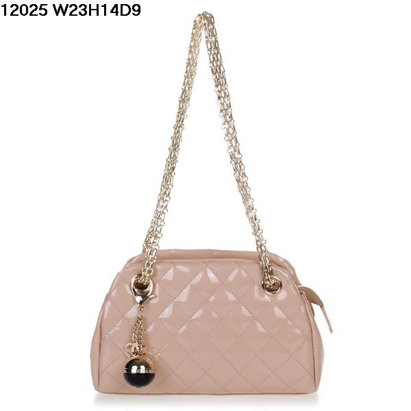 Chanel Bowling Bag Glazed Leather Apricot Gold Chain