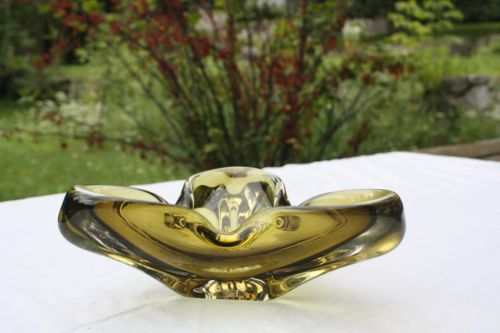 Amber Chalet / Murano Style? Venitian Art Glass Ashtray Vase Dish Vintage 8x8x3""