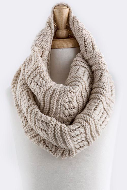 Cable Knit Infinity Scarf- Knitted Infinity Scarf- Scarves ...