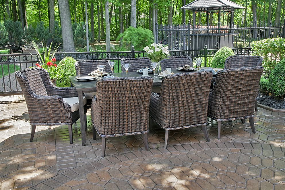 Mila Collection 8 Person All Weather Wicker Luxury Patio ... on Fine Living Patio Set id=15753