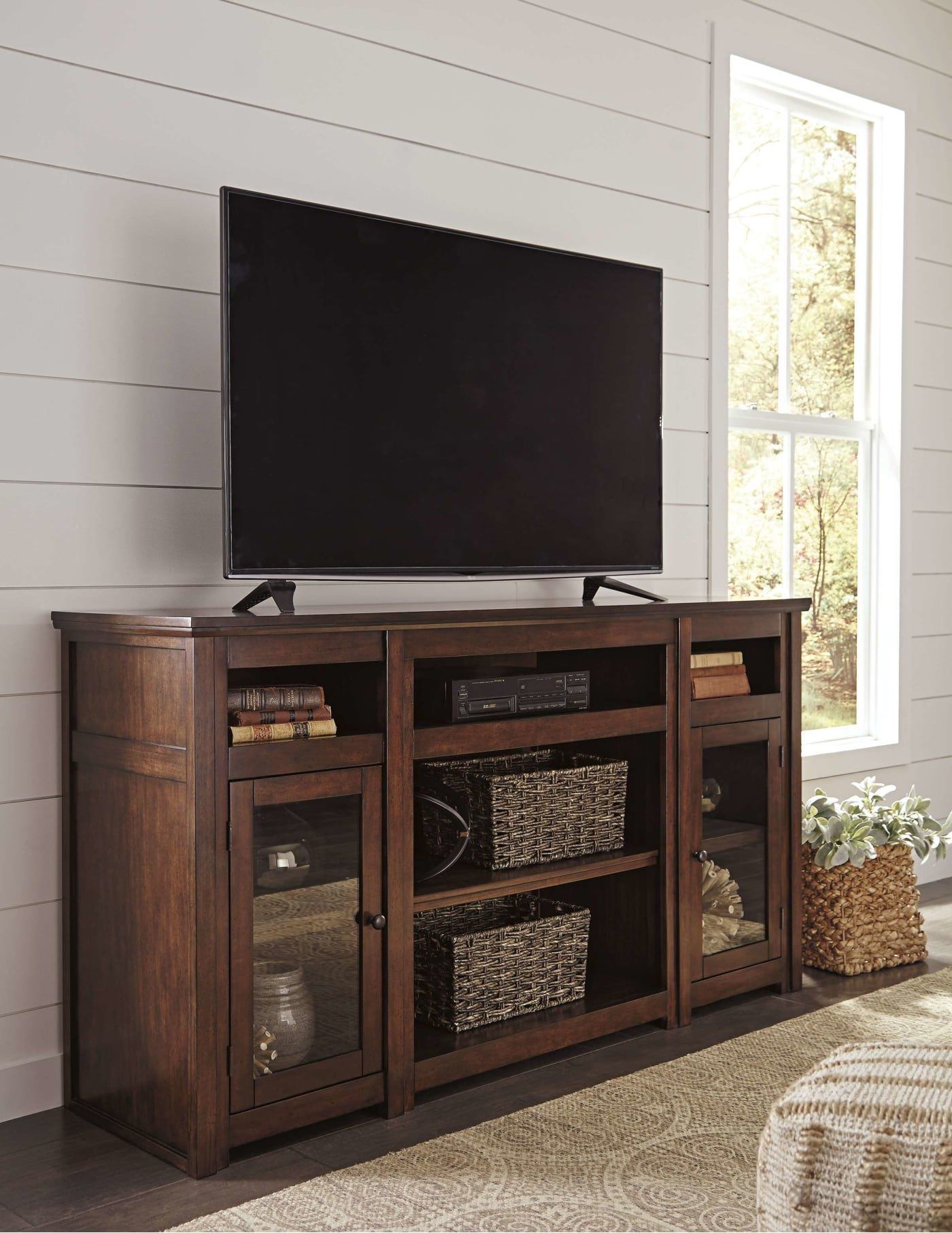 tv stands for sale on signature design by ashley harpan reddish brown 72 extra large tv stand with fireplace option w797 68 goedekers com large tv stands fireplace tv stand entertainment unit tv stand with fireplace option w797 68