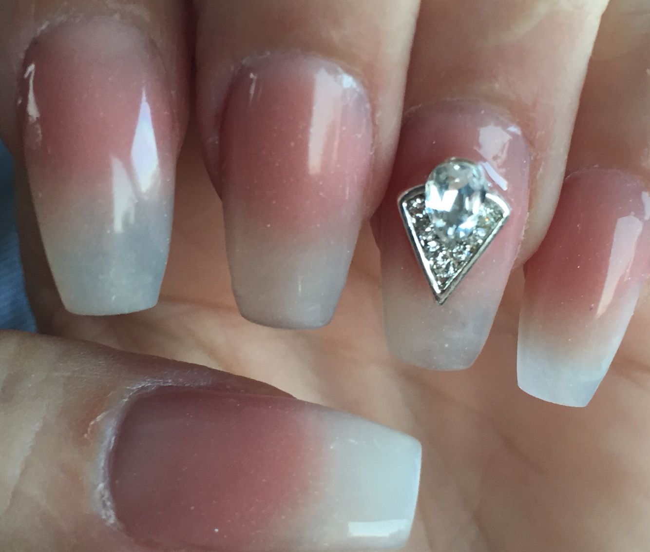 Cappuccino and clear powder. Natural look. Coffin shape long nails ...