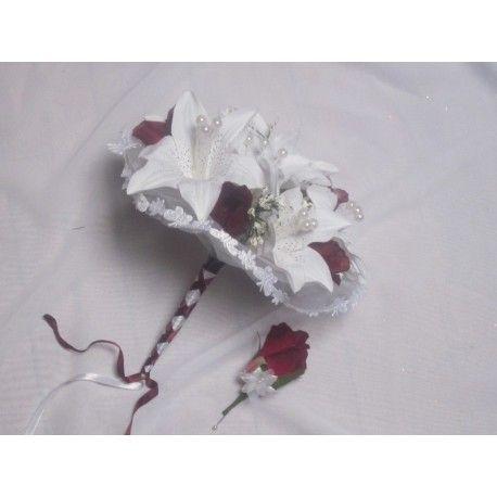 Bouquet de Mariée Rond + Boutonnière avec des lys, roses et perles