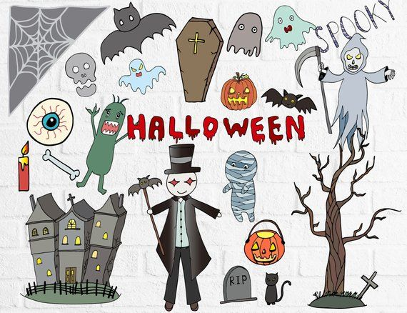 Halloween Clipart, Cute Ghost Clipart, Hand Drawn ...