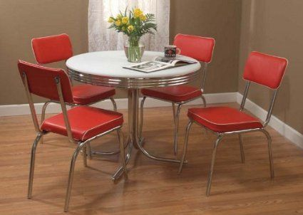 Amazon  Tms 5Pc Retro Dining Set Red  Home Sweet Home Pleasing Retro Dining Room Tables Design Ideas
