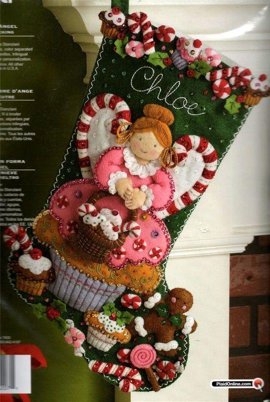 Bucilla cupcake angel felt christmas stocking kit nip stockings bucilla cupcake angel felt christmas stocking kit nip solutioingenieria Images
