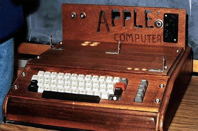 When Apple first started making computers back in 1976, they were made from Steve Jobs's garage and built by Apple co-founder Steve Wozniak, and one of their first computers was the Apple 1, of which 200 were made and they were sold for USD 666.66 each.