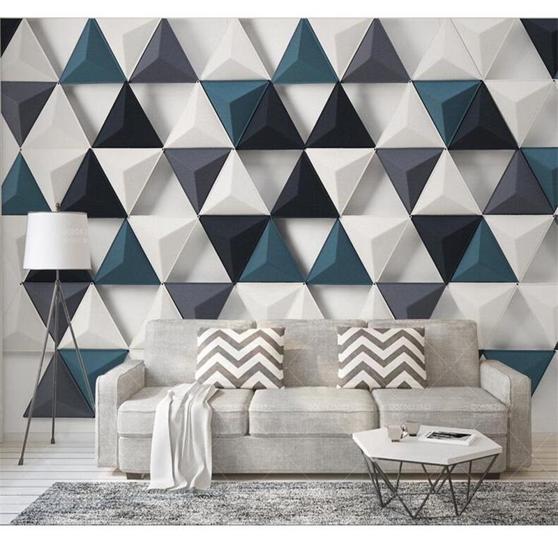 Beibehang Papel De Parede Para Quarto Custom Wallpaper Fashion Nordic Modern Simple 3d Stereo Tria Wall Tiles Design Geometric Interior Design Home Wallpaper