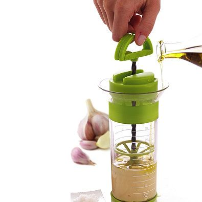 Easily make mayonnaise, sauces, whipped cream, egg whites and foamed milk. The Quik Wisk Universal Mixer is easy to operate with a continuous up and down motion. Non-slip silicone strip and base. The base double as an airtight lid.