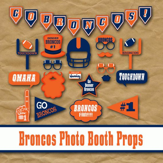 Denver Broncos Photo Booth Props and Party Decorations - Printable