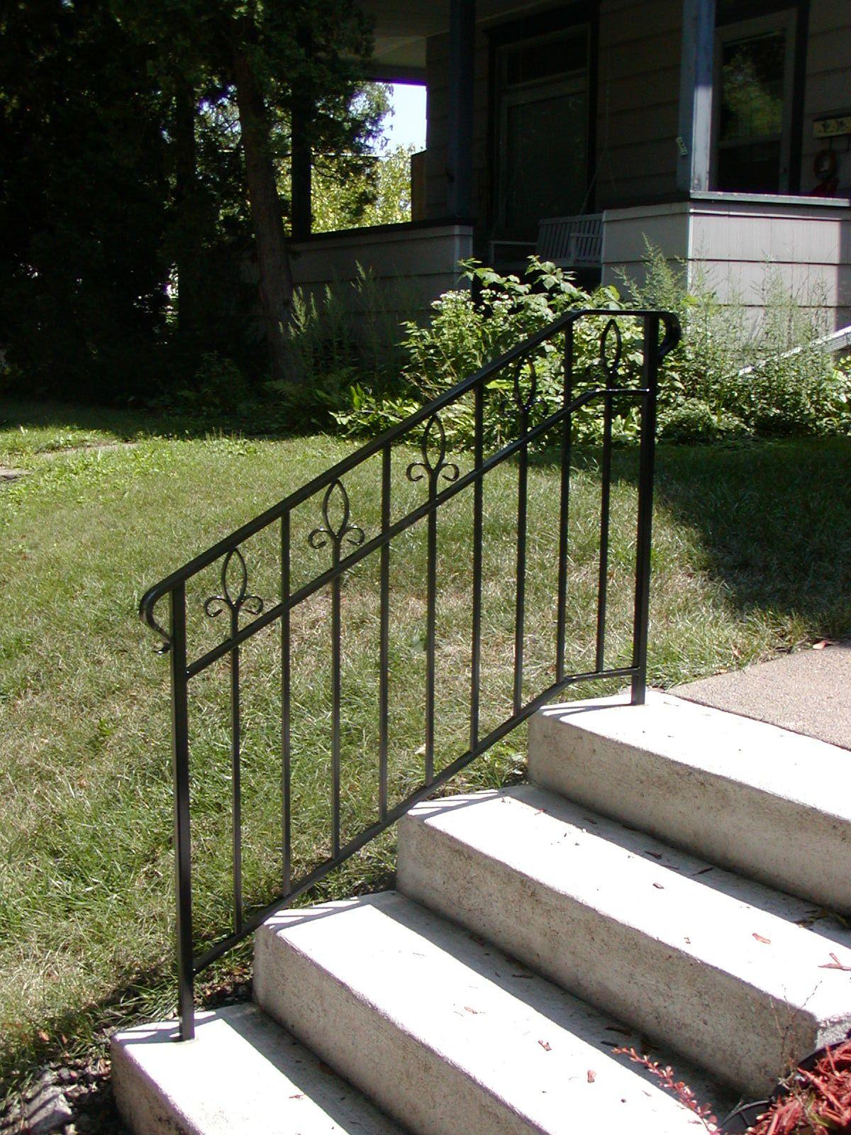 Iron Step Railing With Custom Made Fleur De Lis Designs Wrought Iron Railing Exterior Step | Wrought Iron Railings For Outside Steps