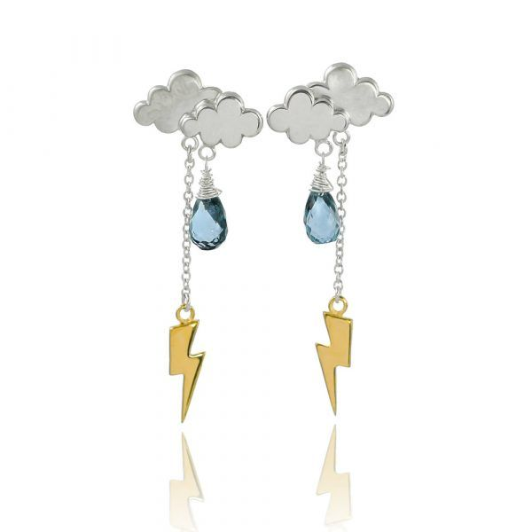 Silver and Gold Thunderstorm Earrings - Handmade i