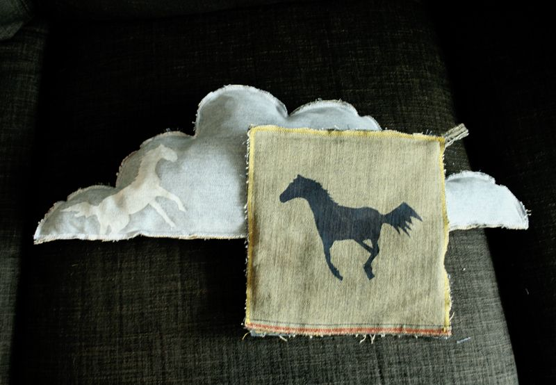 More horse prints on old jeans. Notice the raggedy, exposed edges.