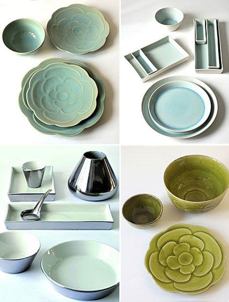Pottery Dinnerware Handmade Ceramic Lime Green and White Polka Dot Tableware Set for 4-6-8 Housewarming Gift Dinner Set Dinnerware Set