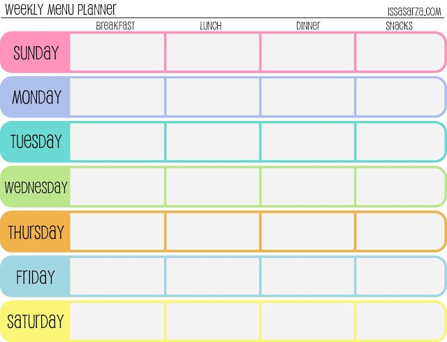 Weekly Meal Planner Template Cute  Let Birds Fly Fun Health Tip